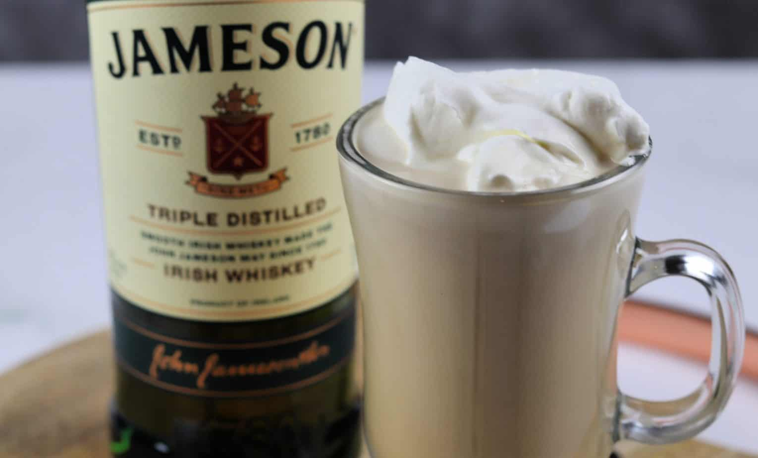 Irish coffee with cream close up