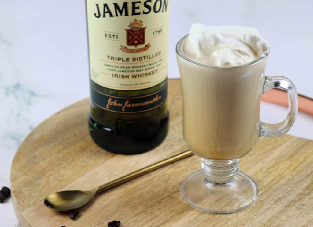 Irish coffee with fresh whipped cream