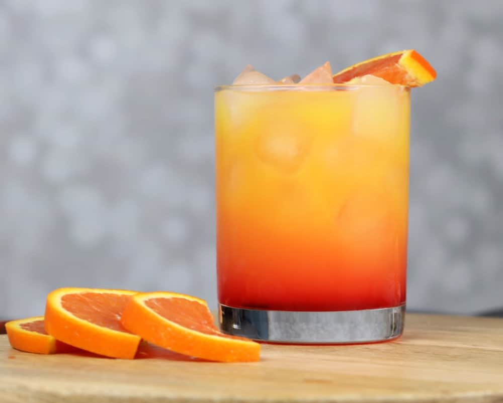 Tequila sunrise layered cocktail recipe
