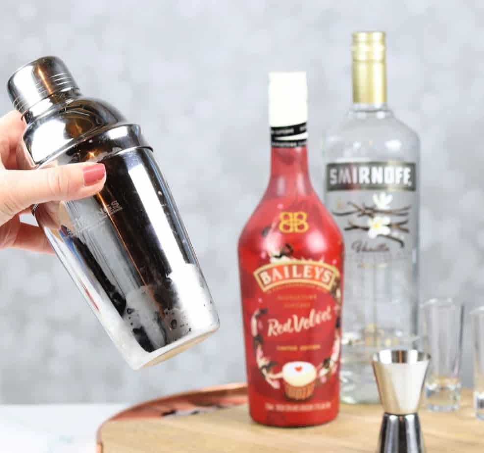 red velvet shooter in a shaker