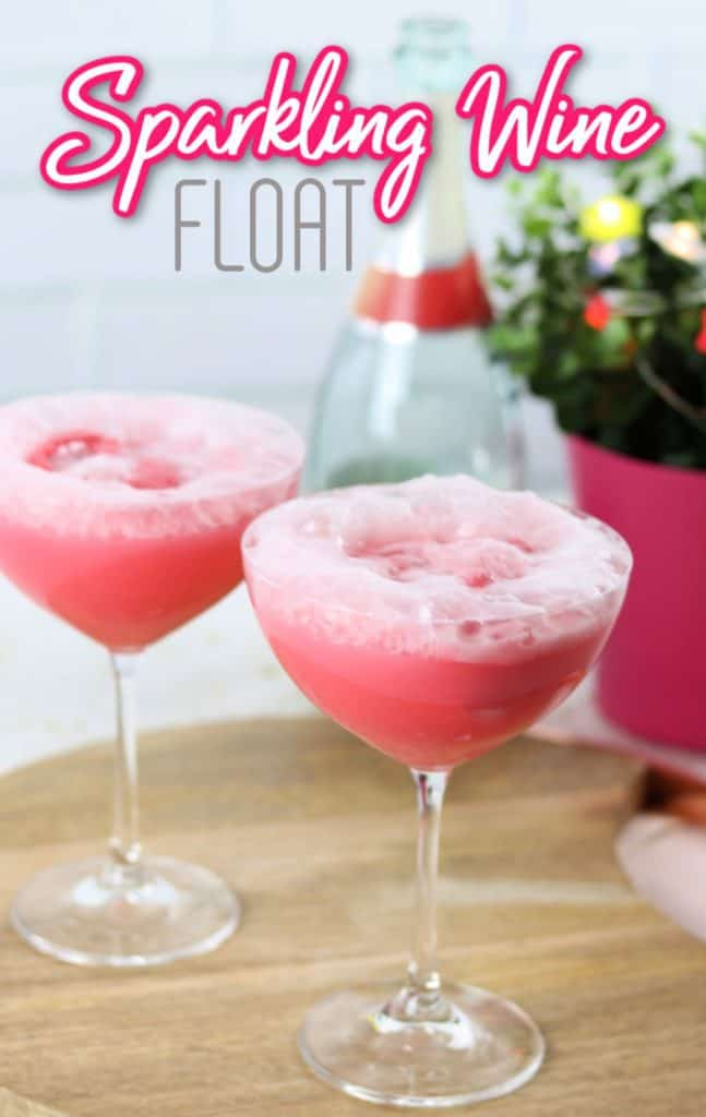 sparkling wine float with raspberry sherbet