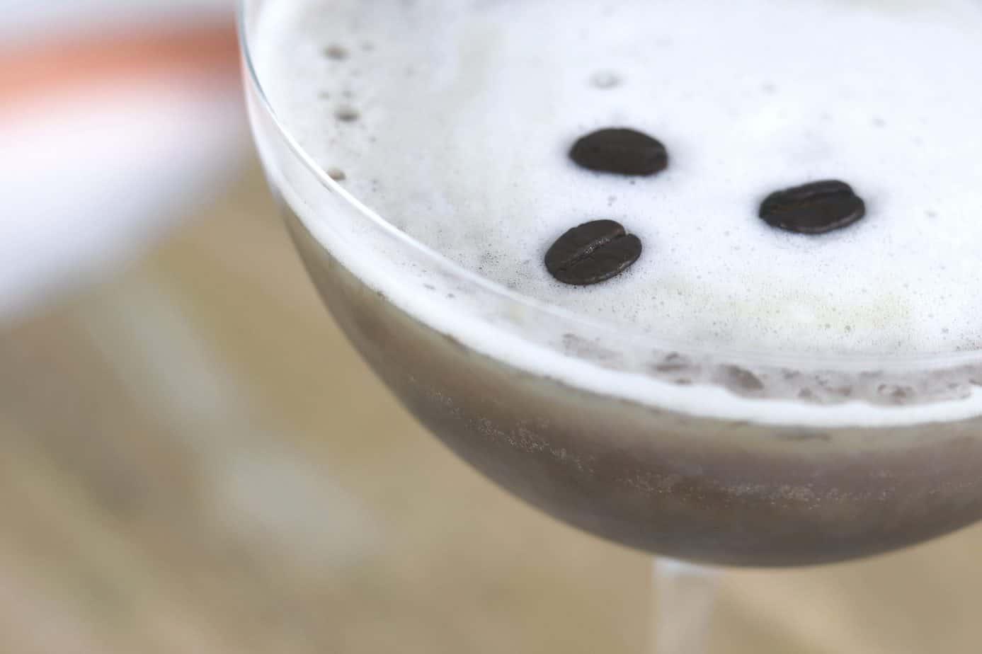 espresso martini with 3 coffee beans