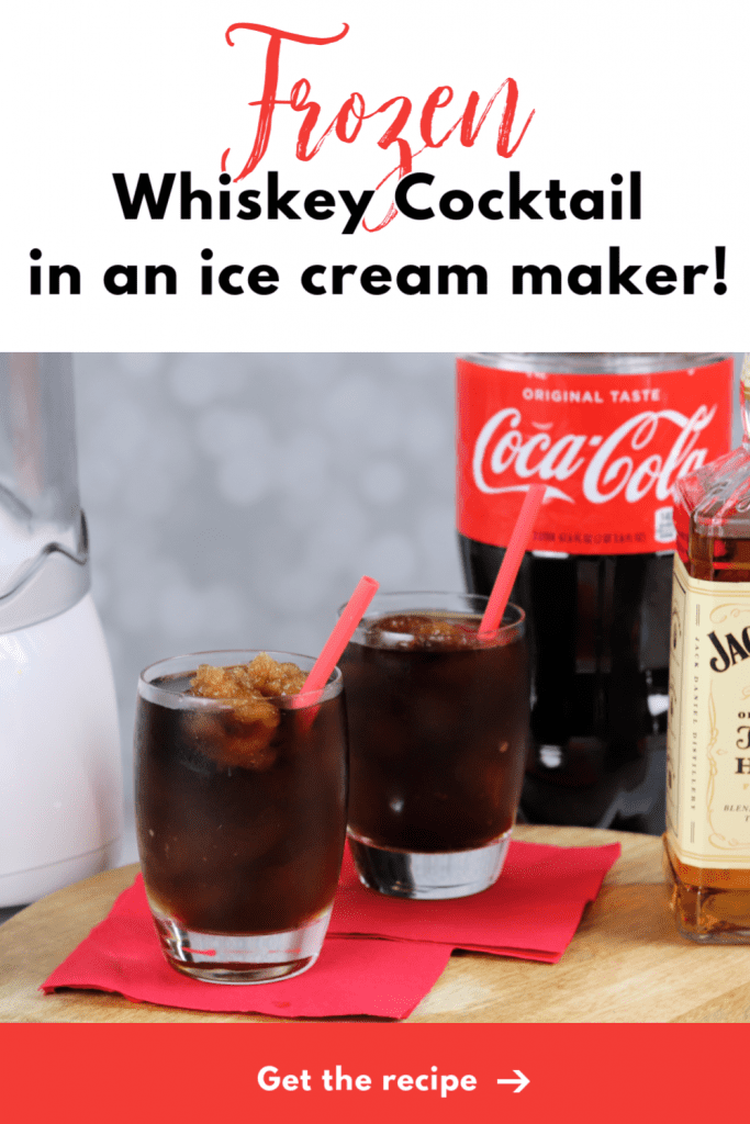 Frozen whiskey cocktail in an ice cream maker