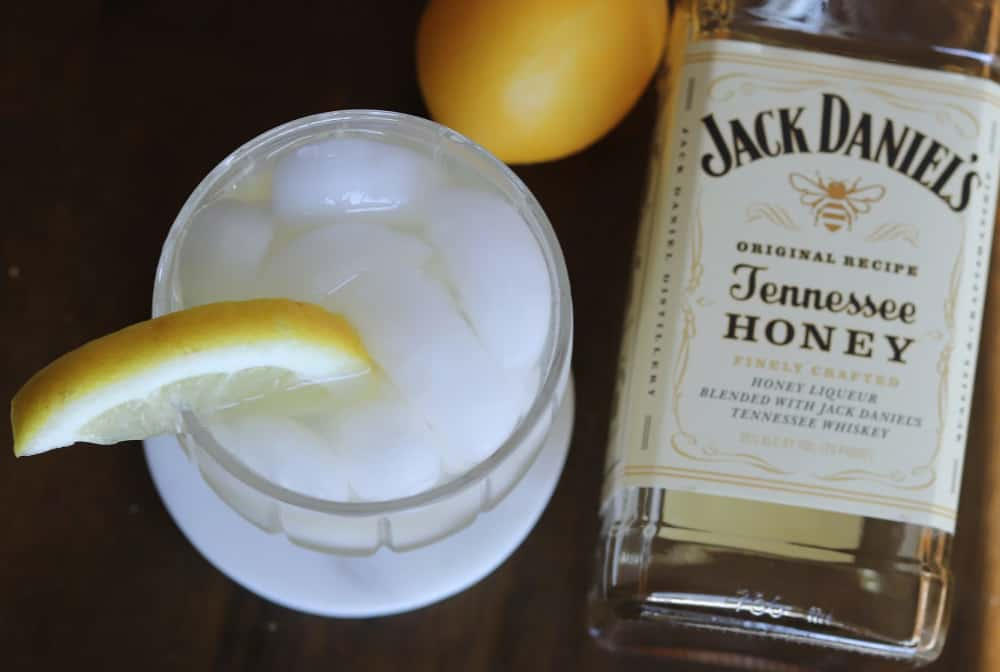 honey whiskey lemonade overhead shot