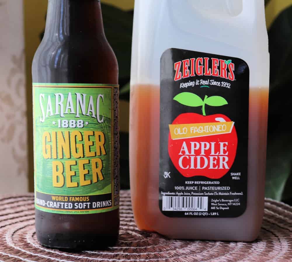 apple cider and ginger beer