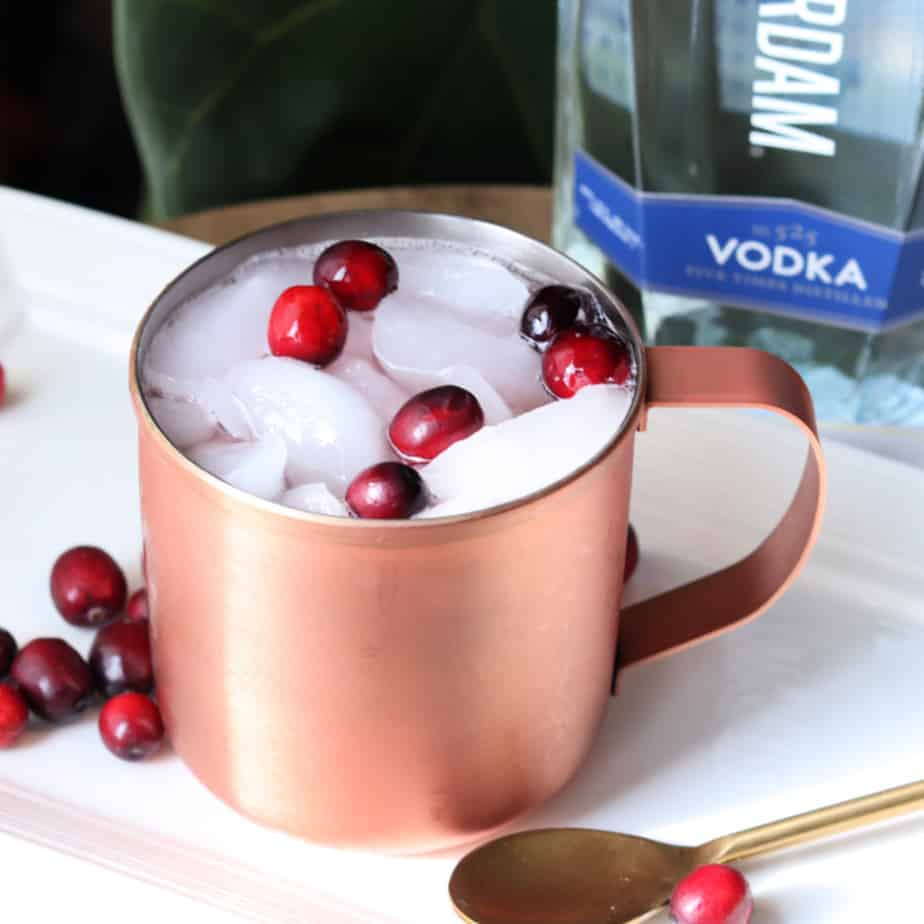 cranberry mosclow mule with vodka