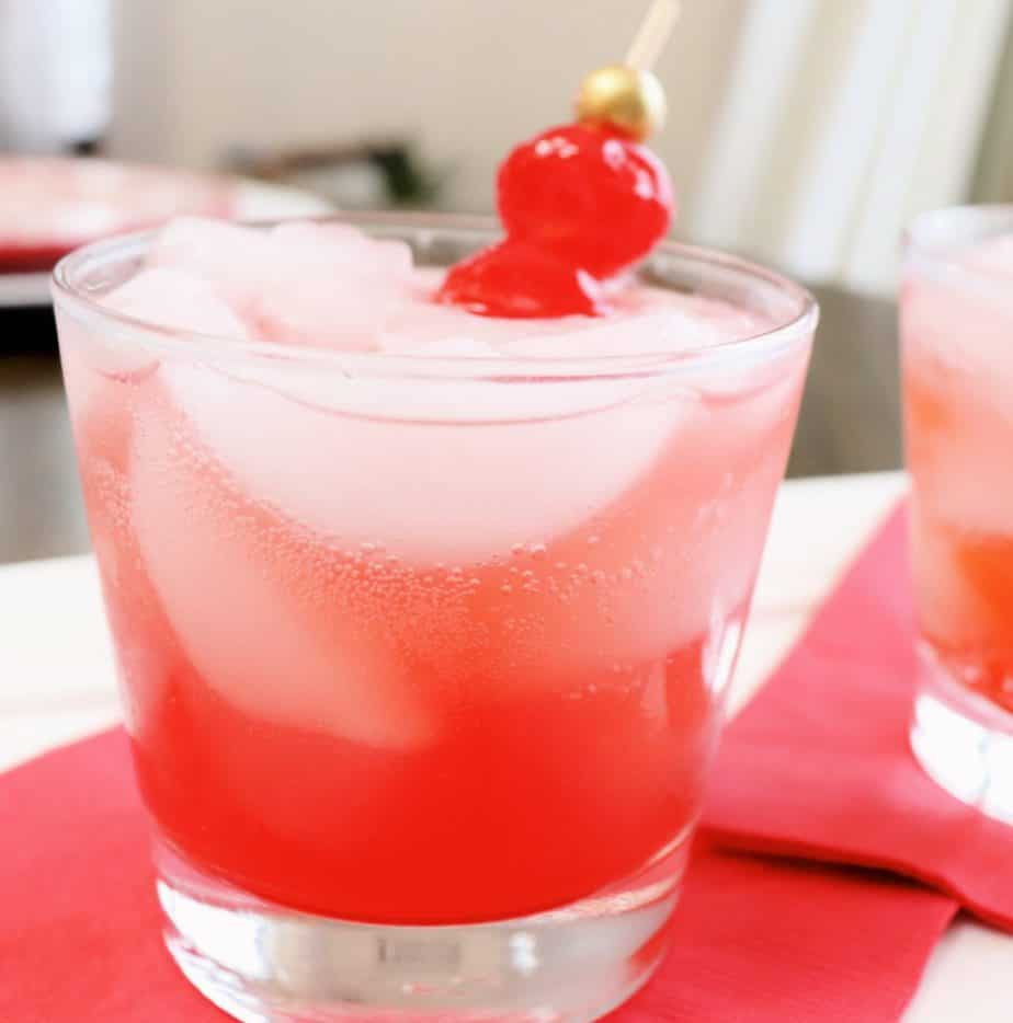 cherry bourbon smash drink