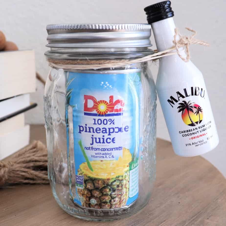 malibu and pineapple cocktail gift in a jar
